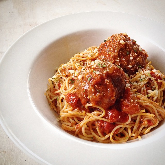 I made one of my faves for lunch today.  Spaghetti and meatballs made with pork and beef and fresh…