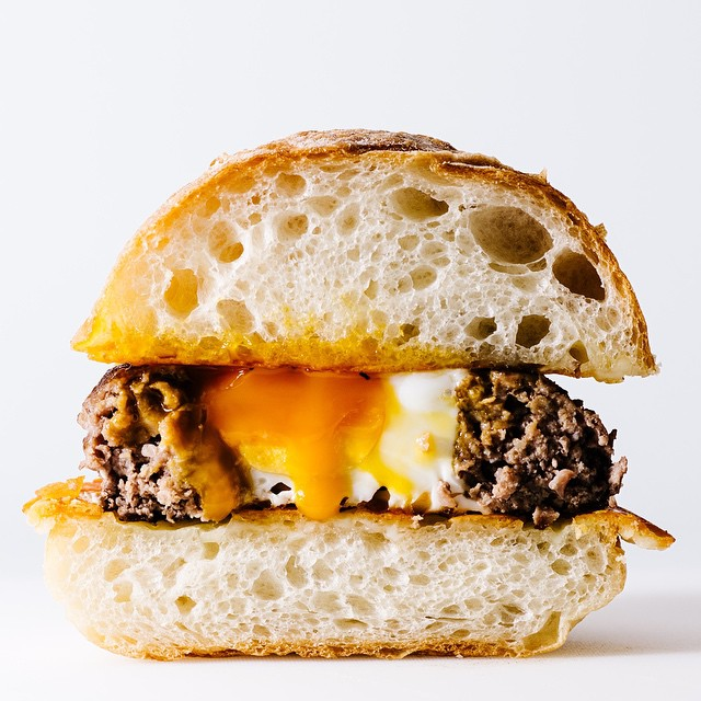 Ultimate Hangover Cure Egg-in-a-hole Grilled Cheese Burger