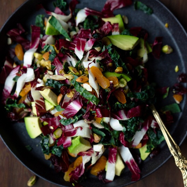 Kale Salad & Ginger Dressing With Cranberries, Honey & Avocado
