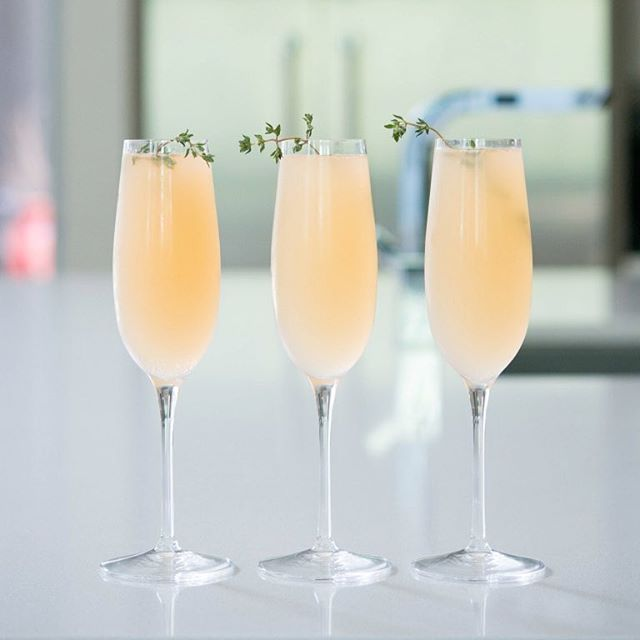 Elderflower Grapefruit Mimosa With Fresh Thyme