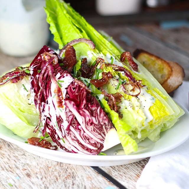 Radicchio & Romaine Wedge with Crispy Onions, Bacon & Tangy Yogurt Buttermilk Dressing by…