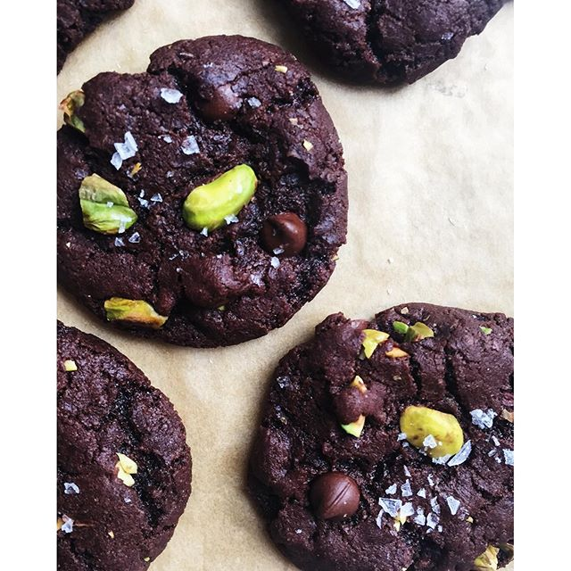 Salted dark chocolate olive oil cookies with pistachios thefeedfeed salted dark chocolate olive oil cookies with pistachios sciox Gallery
