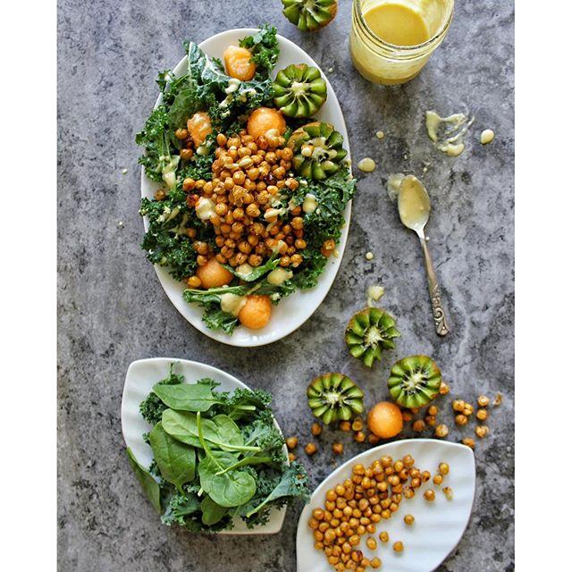 Caesar Kale Salad With Roasted Chickpeas