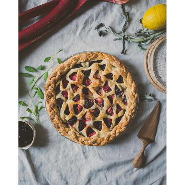 And the finished rhubarb blackberry and sage pie!!!