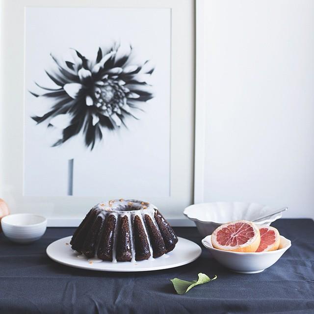 Gluten free Almond Bundt Cake with Grapefruit Citrus Glaze.