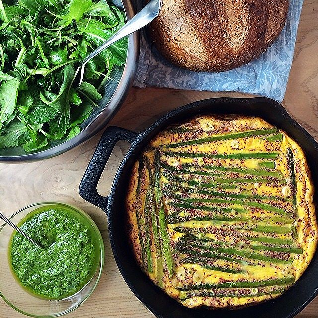Asparagus Frittata + Sumac, Greens And Pea Pesto
