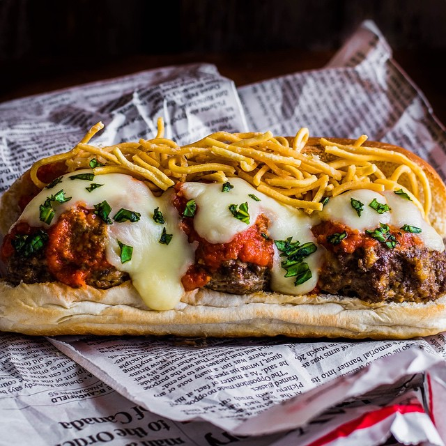 Meatball Parm Subs With Deep Fried Pasta