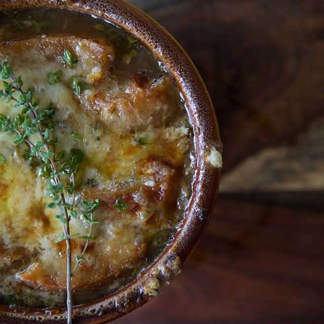 Baked French Onion Soup With White Wine, Sage & Parmesan