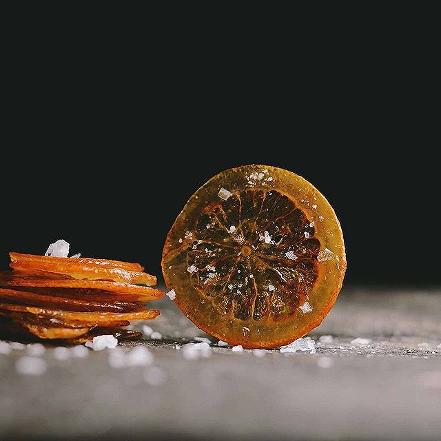 Candied Blood Orange Chips With Fennel & Sea Salt