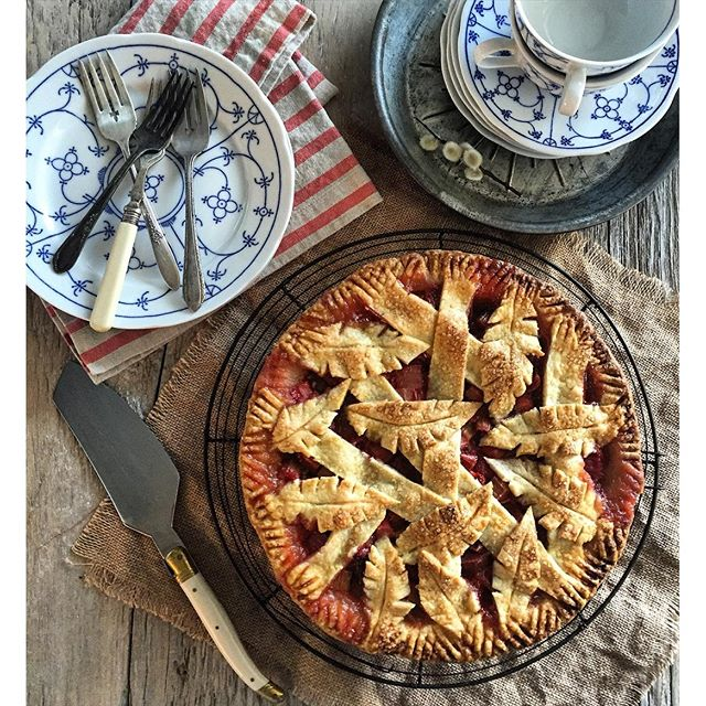 Ontario Rhubarb, Strawberry, Mint And Bitters Pie