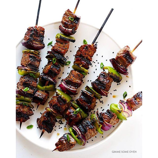 Grilled Asian Pepper Steak Kabobs