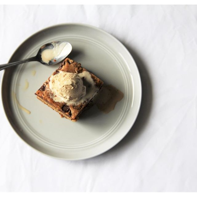 Toffee Blondies With Coffee Ice Cream