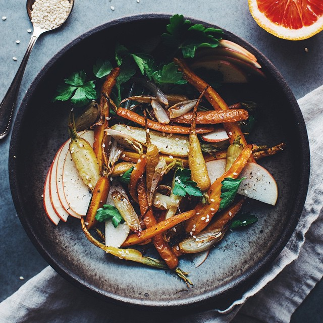 Fennel Roasted Carrot & Shallot Salad With Shaved Apples, Blood Orange & Toasted Sesame Seeds
