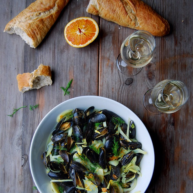 Blood Orange Mussels with Fennel, Ginger and Turmeric Roots