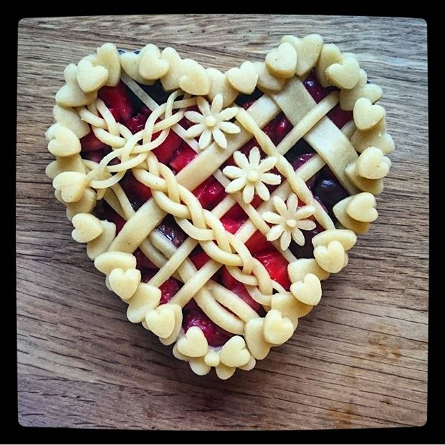 Heart Shaped Strawberry And Cherry Pie