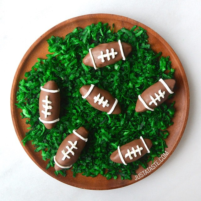 In need of last-minute SuperBowl snack ideas?  Check out these Nutella Football Truffles served on…