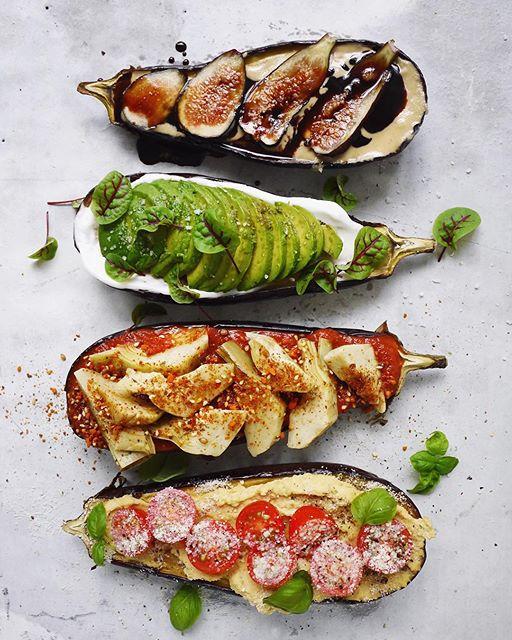Roasted Eggplant Four Ways: Tahini, Figs Balsamic; Avocado Sorrel; Marinara, Marinated Artichokes Dukkah And Hummus Tomato recipe