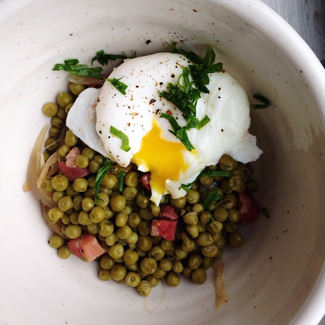 Peas & Pancetta With Poached Egg