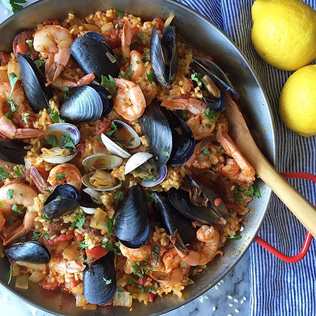 Mixed Seafood Paella With Fire Roasted Tomatoes
