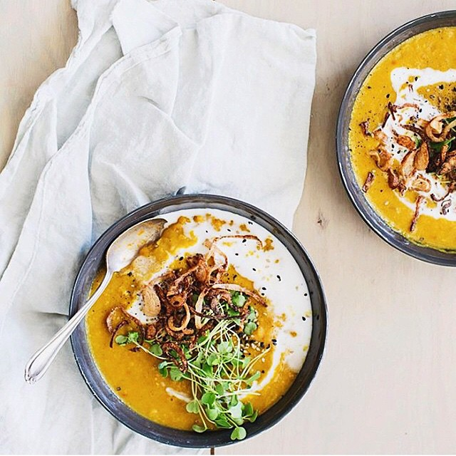 Spiced Yellow Split Pea & Sweet Potato Soup With Crispy Shallots