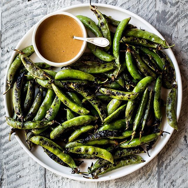Grilled Sugar Snap Peas with Spicy Peanut Sauce for happy hour on the farm tonight.