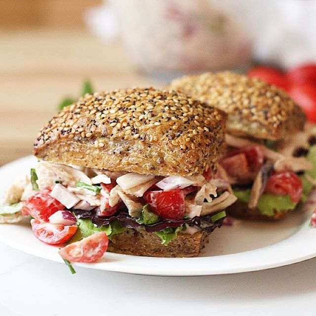 Rustic Chicken Salad And Basil Sandwiches