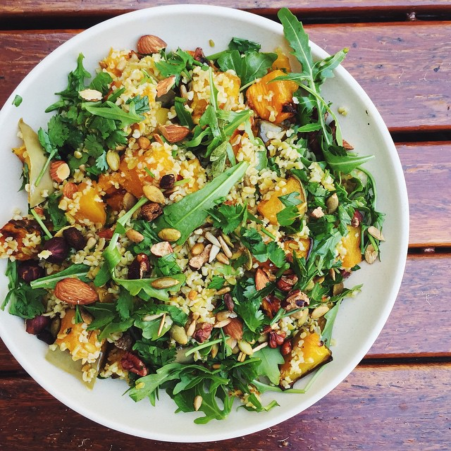 Ginger Roasted Pumpkin & Freekeh Salad With Mint, Chilli, & Lime