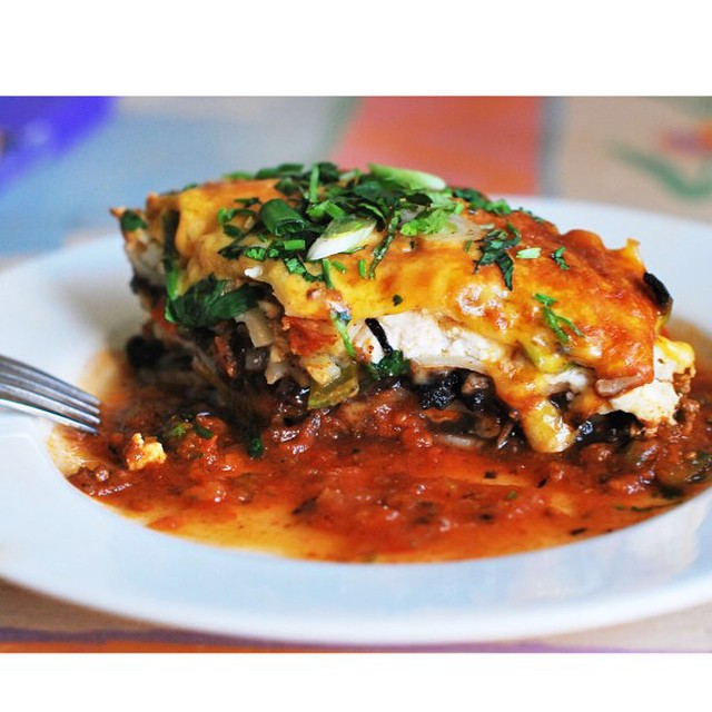 A nice piece of my delicious and super satisfying Mexican lasagna.