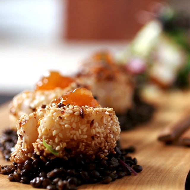 Black Sesame Crusted Scallops With Black Lentils, Mango Chutney & Microgreens
