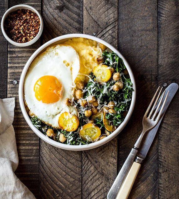 Polenta Bowls With Garlicky Summer Squash And Kale Sauté And Sunny Side Up Egg