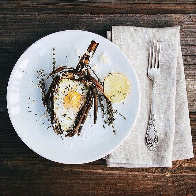 Baked Artichoke Filled With Quinoa, Egg And Parmesan