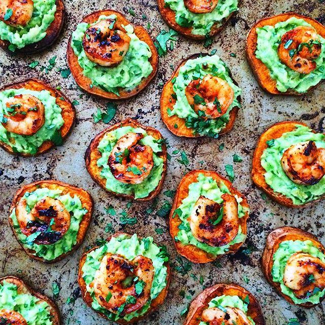 Shrimp And Guacamole Sweet Potato Toast