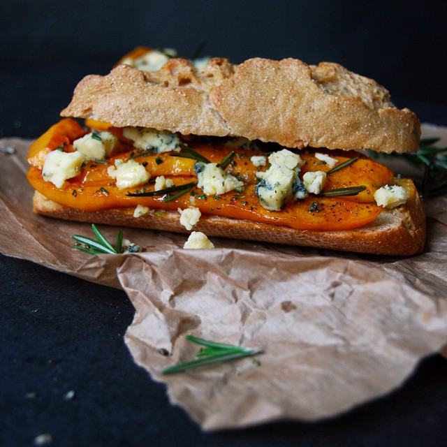 Roasted Pumpkin, Stilton And Rosemary Sandwich