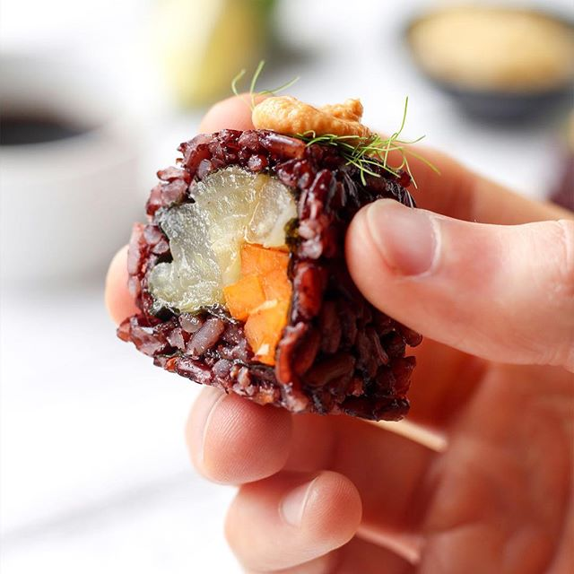 Braised Fennel And Black Rice Sushi