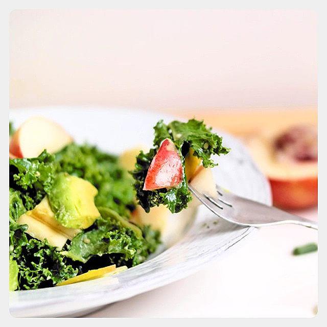 Peach & Kale Salad With Tahini Dressing