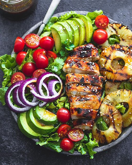 Grilled Chicken Salad With Avocado, Grilled Pineapple And ...