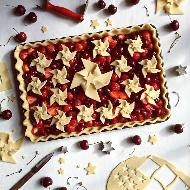 Cherry, Strawberry And Raspberry Pinwheel Slab Pie