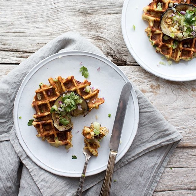 Parsnip, Shallot, And Chive Waffles With Eggplant Salsa Verde