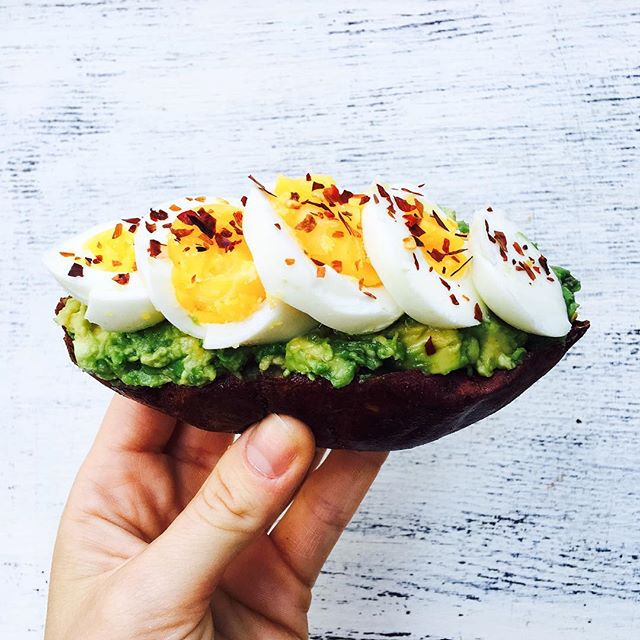 Japanese Sweet Potato With Avocado And Hard Boiled Egg