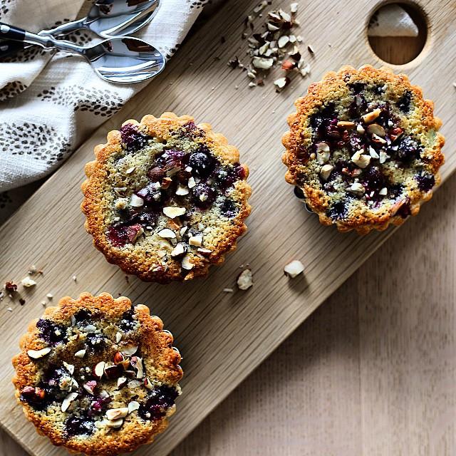 Hazelnut & Blueberry Tarts With Flaked Almonds