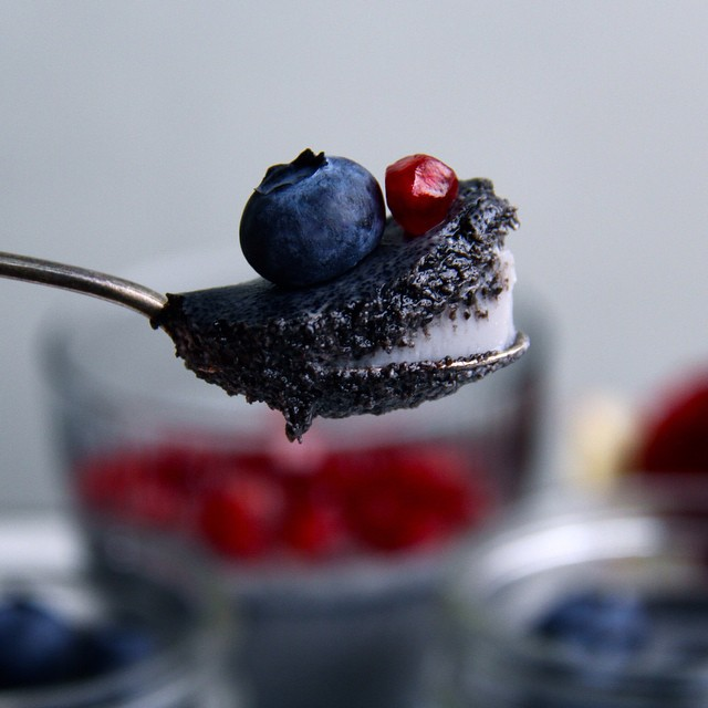 Creamy Black Sesame Pudding Topped With Mixed Berries