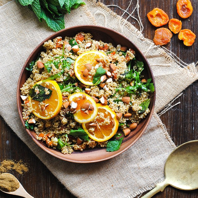 Orange, Mint, & Apricot Moroccan Quinoa Salad