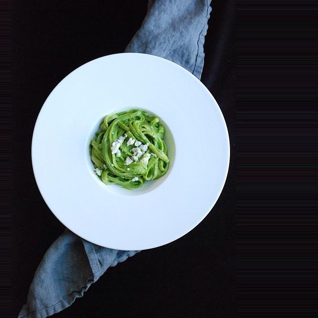 Kale Pesto Whole Grain Fettuccini With Gorgonzola