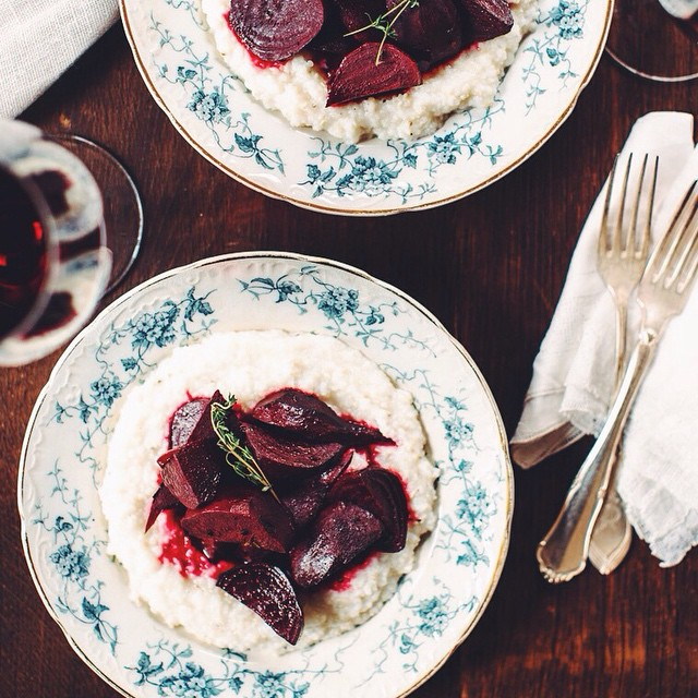 Wine Braised Beets With Stone Ground Goat Cheese Grits