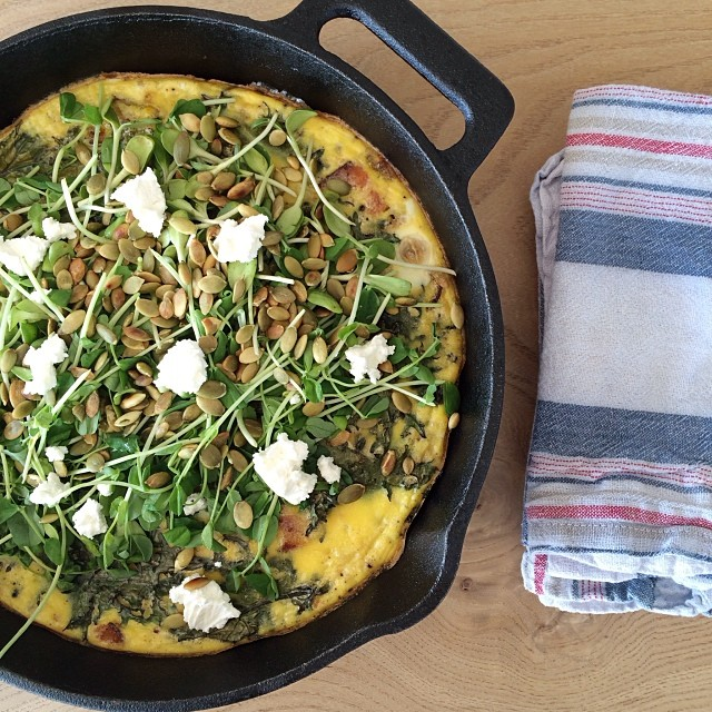 Local Sweet Potato & Bacon Frittata Lunch With  Kale & Goat Cheese