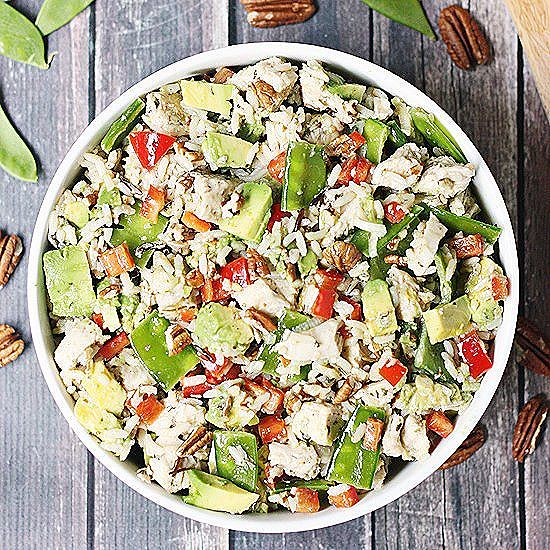 Wild rice salad is the perfect summer dish with its diced chicken, red bell pepper, snow peas…