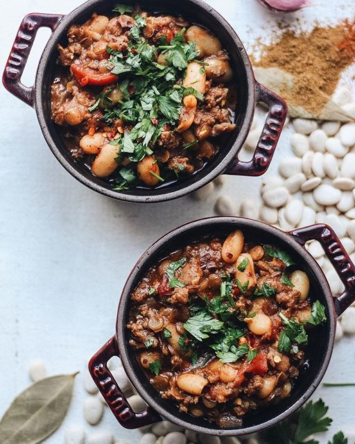 Too hot to eat #chili or nah?  Lentil, bean, and lamb chili spiced with all the flavors of a…