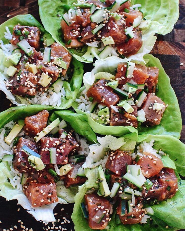 Uhhhh yeah. Spicy Tuna Poke Lettuce Wraps today. ?? Except, autocorrect just called it Spicy Tina…