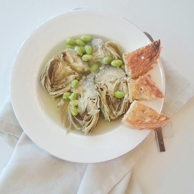 Artichoke And Edamame Soup
