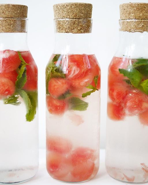 When the spa provides kitchen inspo...watermelon mint water. Makes water drinking easy!